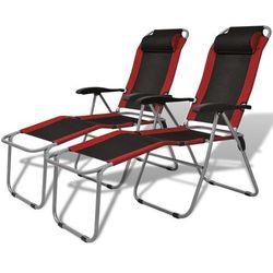 vidaXL Krzesła kempingowe rozkładane, 2 szt., czerwono-czarne