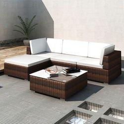 vidaXL Rattanowa sofa rogowa z zadaszeniem, brązowa, kup u jednego z partnerów