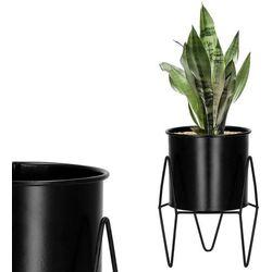 Stojak na kwiaty 19 cm z doniczką nowoczesny kwietnik loft czarny mat marki Springos