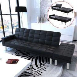 rozkładana sofa z czarnej eko skóry wyprodukowany przez Vidaxl