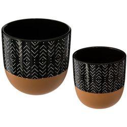 Zestaw 2 doniczek, okrągłe doniczki ceramiczne, kolor czerni i miedzi, doniczka w jodełkę marki Atmosphera