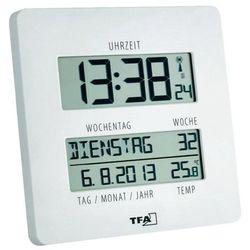 Zegar ścienny cyfrowy TFA 60.4509.02 Sterowany radiowo, (DxSxW) 27 x 195 x 195 mm, Time Line Funkuhr mit Temperatur