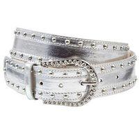Pasek z nitami i sztrasami  srebrny kolor marki Bonprix