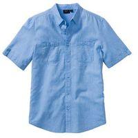 Koszula z lnem, krótki rękaw, regular fit  niebiesko-biały melanż marki Bonprix