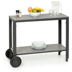 Blumfeldt Menorca Roll, stół do serwowania, 2 kółka, Polywood, aluminium, tekowy (4060656229435)