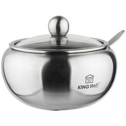 KINGHOFF Cukiernica stalowa 460 ml z łyżeczką