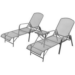 Vidaxl Zestaw 2 regulowanych leżaków i stolika, metalowa siatka