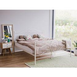 Łóżko białe - 160x200 cm - metalowe - ze stelażem - podwójne - lyra marki Beliani
