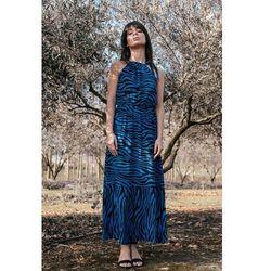 Maxi wzorzysta sukienka wiązana przy szyi - niebieska