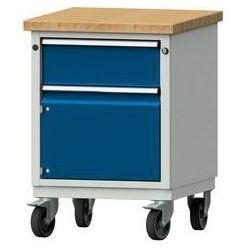 Kompaktowy stół warsztatowy, blat z litego drewna bukowego,szer. x głęb. 605 x 650 mm, 1 szuflada, 1 szafa