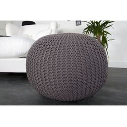 INTERIOR SPACE:: Puf Knitted Ball - szary?50cm - szary, kolor szary