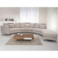 Półokrągła sofa tapicerowana - kanapa beż - tkanina obiciowa - ROTUNDE