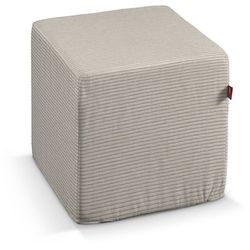 Dekoria pufa kostka, kremowo-beżowe pasy ala sztruks, 40 × 40 × 40 cm, living