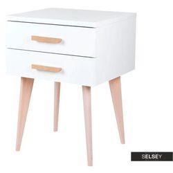 SELSEY Szafka nocna Sardynia biała z dwiema szufladami