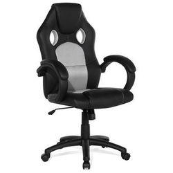 Krzesło biurowe szare - obrotowe - skóra ekologiczna - REST
