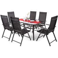 H&g Zestaw mebli ogrodowych aluminiowych ibiza basic black 6+1 (5902425324295)