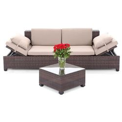 SOFA TECHNORATTANOWA MILANO BROWN LIGHT 2 W 1 - sprawdź w GardenWorld