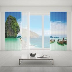 Zasłona okienna na wymiar komplet - BOATS & LAGOON