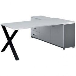 B2b partner Biurowy stół roboczy alfa x z szafką po lewej, blat 1800 x 800 mm, wzór biały