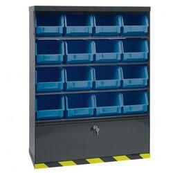 Szafki z plastikowymi pojemnikami i szufladą, 16 boksów