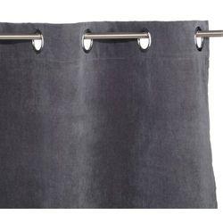 Zasłona w kolorze ciemnoszarym w rozmiarze 140 x 260 cm marki wyposażona w metalowe kółka do zawieszania marki Atmosphera