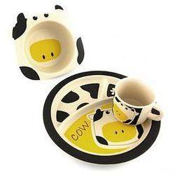 Zestaw jedzeniowy bambusowy (krowa) marki Pure kids