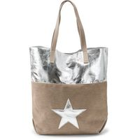 Torebka shopper z gwiazdą, metaliczna  naturalno-srebrny marki Bonprix