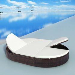 Vidaxl leżak z poduszką, 200 x 140 28 cm, polirattan, brązowy