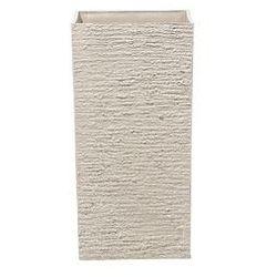 Beliani Doniczka beżowa kwadratowa 30 x 30 x 60 cm gaza (4260586357134)