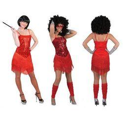 F f Kostium sukienka błyszcąca czerwona – roz. 36