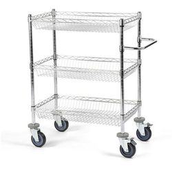 Wózek stołowy z kratą drucianą, z koszami, dł. x szer. x wys. 760x460x1025 mm, 3 marki Seco