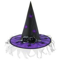 Kapelusz czarownicy fioletowy z różami na Halloween - 1 szt.
