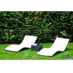 Leżaki ogrodowe z technorattanu linea z materacami czarny marki Bello giardino