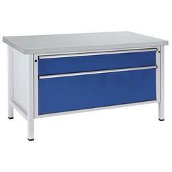 Stół warsztatowy, stabilny, 2 szuflady XXL, okładzina z blachy stalowej, pełne w