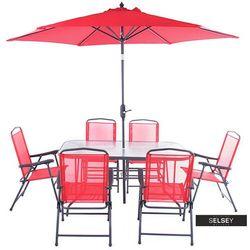 Selsey zestaw ogrodowy rapasolla stół z sześcioma krzesłami i parasolem czerwony