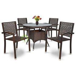 Meble ogrodowe ROCA/ROMA 4 krzesła brąz