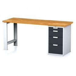 Stół warsztatowy MECHANIC, 2000x700x880 mm, nogi regulowane, 1x szufladowy kontener, 4 szuflady, szary/antracyt