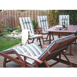 Leżanka ogrodowa drewniana na kółkach poducha niebiesko-beżowe pasy TOSCANA (4260586359817)