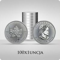 Royal canadian mint Kanadyjski liść klonowy 1 uncja srebra x 100