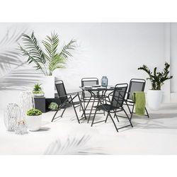 Stół ogrodowy czarny - na balkon - na taras - stal - 80x80 cm - LIVO