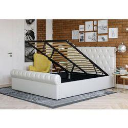 Łóżko tapicerowane do sypialni 160x200 1298g białe marki Meblemwm
