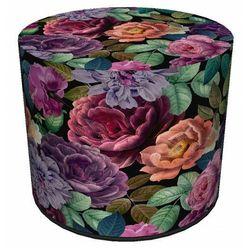 Producent: elior Okrągła tapicerowana zielono-różowa pufa w kwiaty - matilda