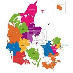 Naklejka Mapa podziału administracyjnego Danii - sprawdź w REDRO