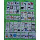 Duży zestaw kart edukacyjnych: budynki/ pomieszczenia domowe/akcesoria - wersja w j. angielskim marki Bystra sowa