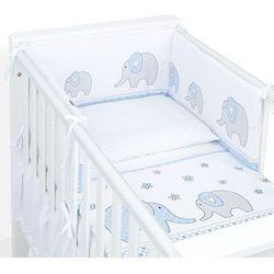 MAMO-TATO 3-el dwustronna rozbieralna pościel dla niemowląt 100x135 Elefant jeansowy / kropki szare