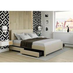 Łóżko 160x200 tapicerowane monza + 4 szuflady + materac beżowe tkanina marki Big meble