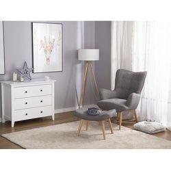 Fotel brązowo-szary + pufa - fotel tapicerowany - krzesło - VEJLE