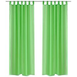 vidaXL Zasłona na szelkach, prześwitująca, zielona, 140 x 175 cm, 2 sztuki