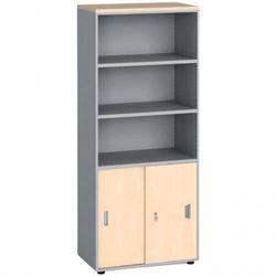 Szafa biurowa, przesuwne drzwi na 2 półki, 1781x800x420 mm, brzoza marki B2b partner