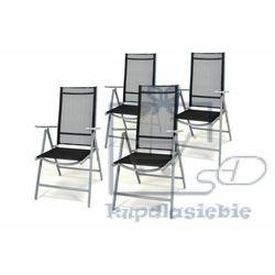 Komplet ogrodowy 4 krzeseł składanych - czarny marki Garthen